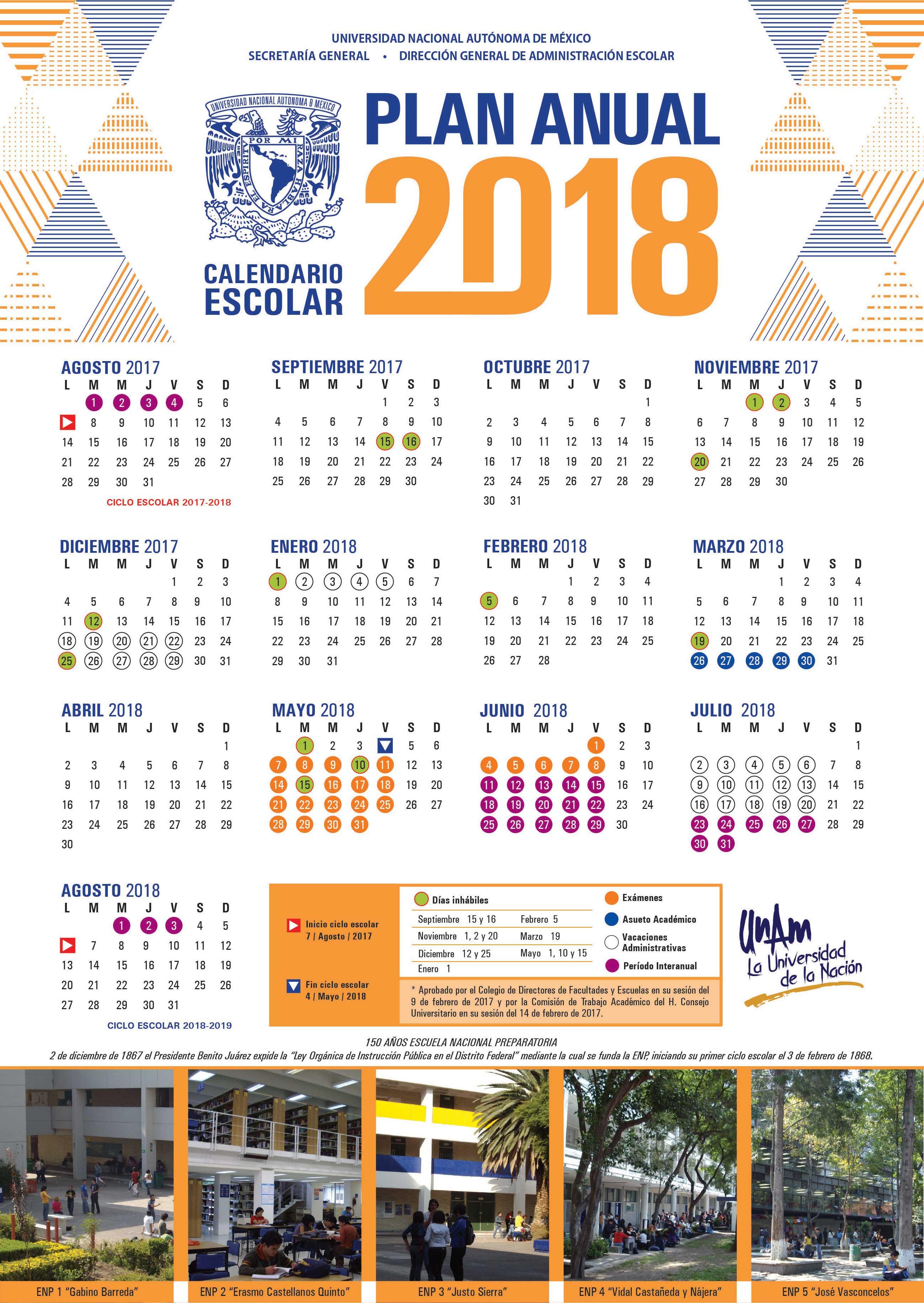 Calendarios 2018 Unam