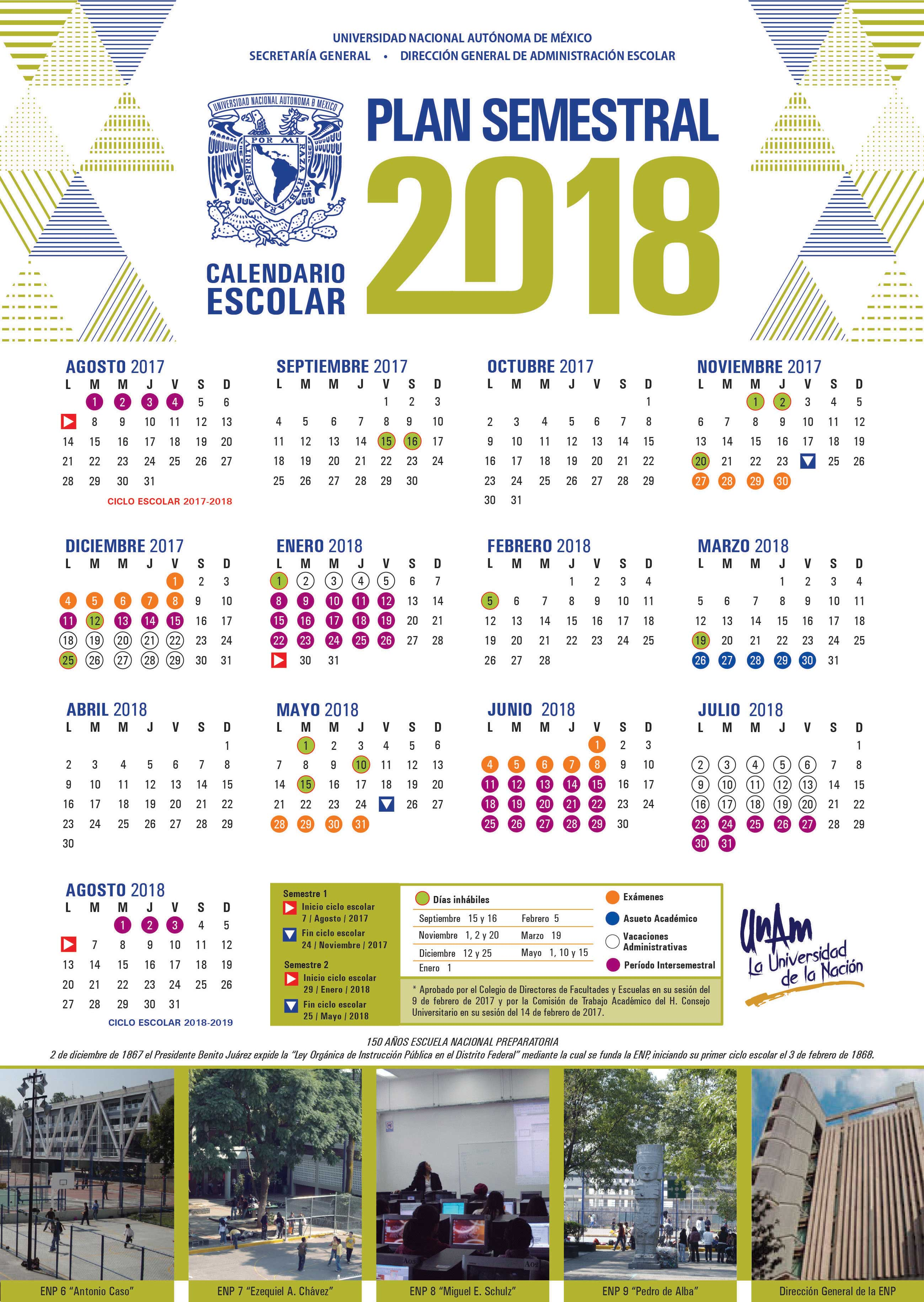 UNAM / DGAE / SIAE / Actividades / Calendarios